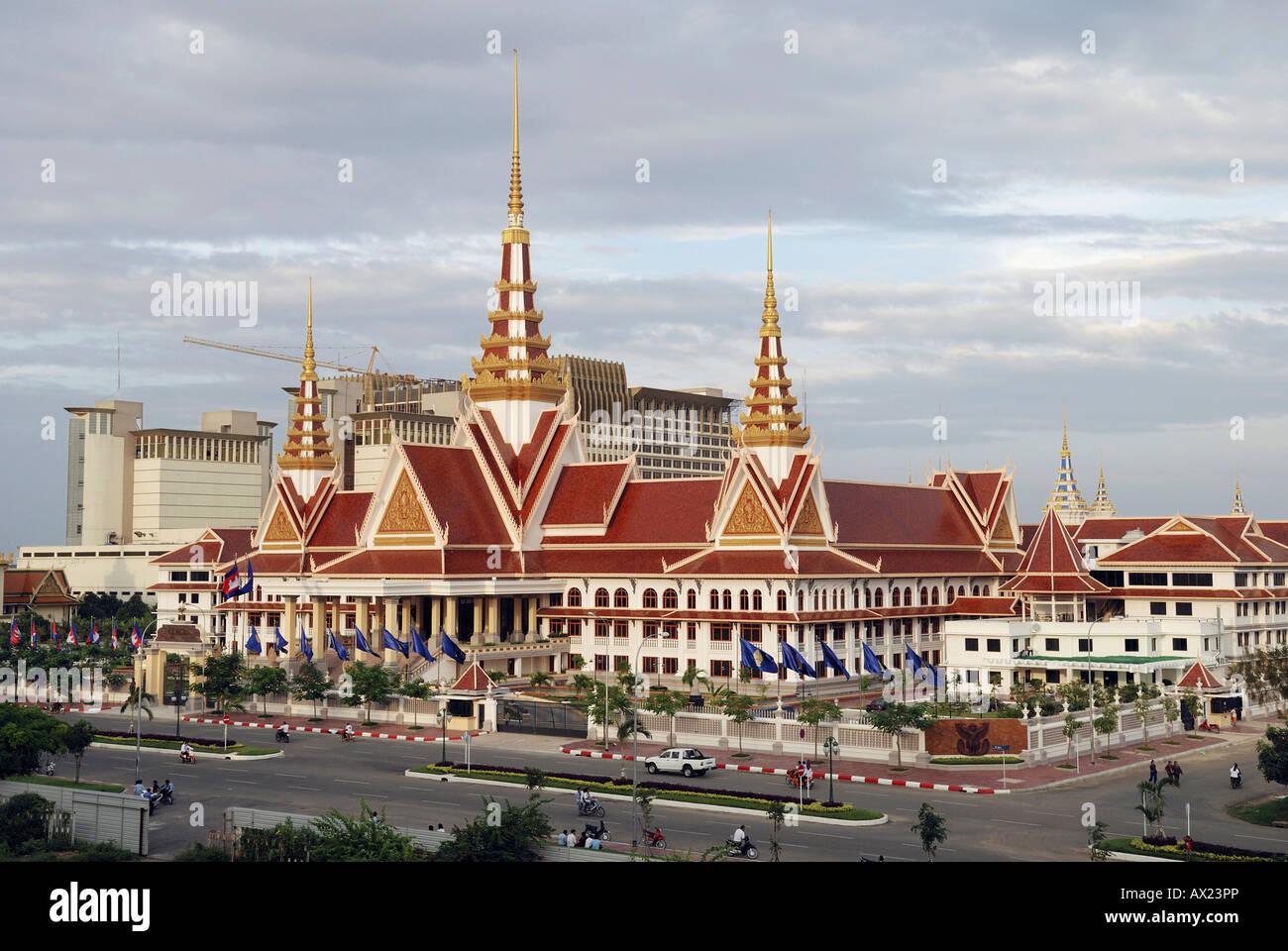 National Assembly and Nagar Casino (Background), Phnom Penh, Cambodia - Stock Image