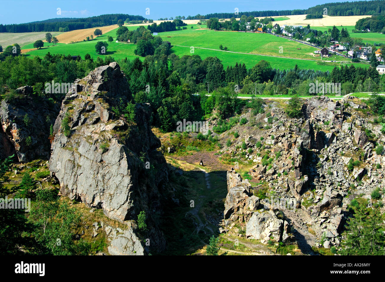 Collapse crater of an old tin mine, Geyer, Ore Mountains, Saxony, Germany - Stock Image