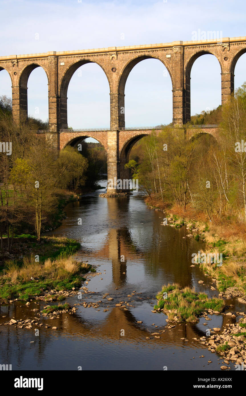 Technical monument Railway Viaduct Goehren bridging the valley of the river Zwickauer Mulde, Goehren, Saxony, Germany - Stock Image