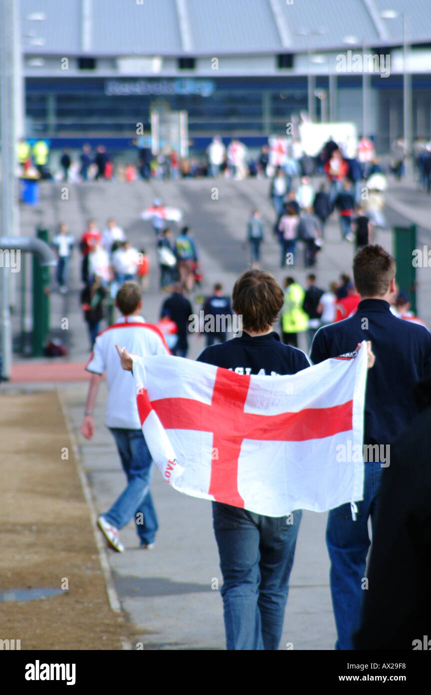 England football fans outside the city of manchester stadium - Stock Image