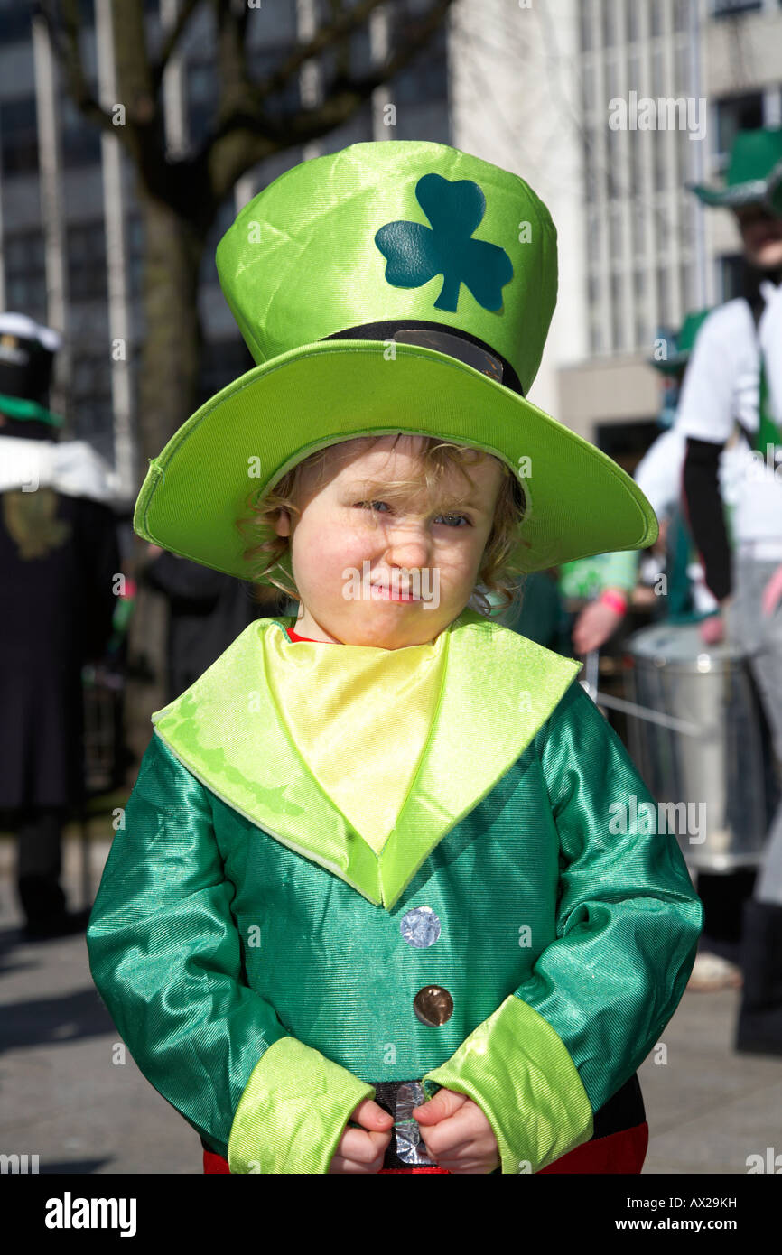 young boy dressed as a leprechaun at the parade and carnival on st patricks day belfast northern ireland - Stock Image