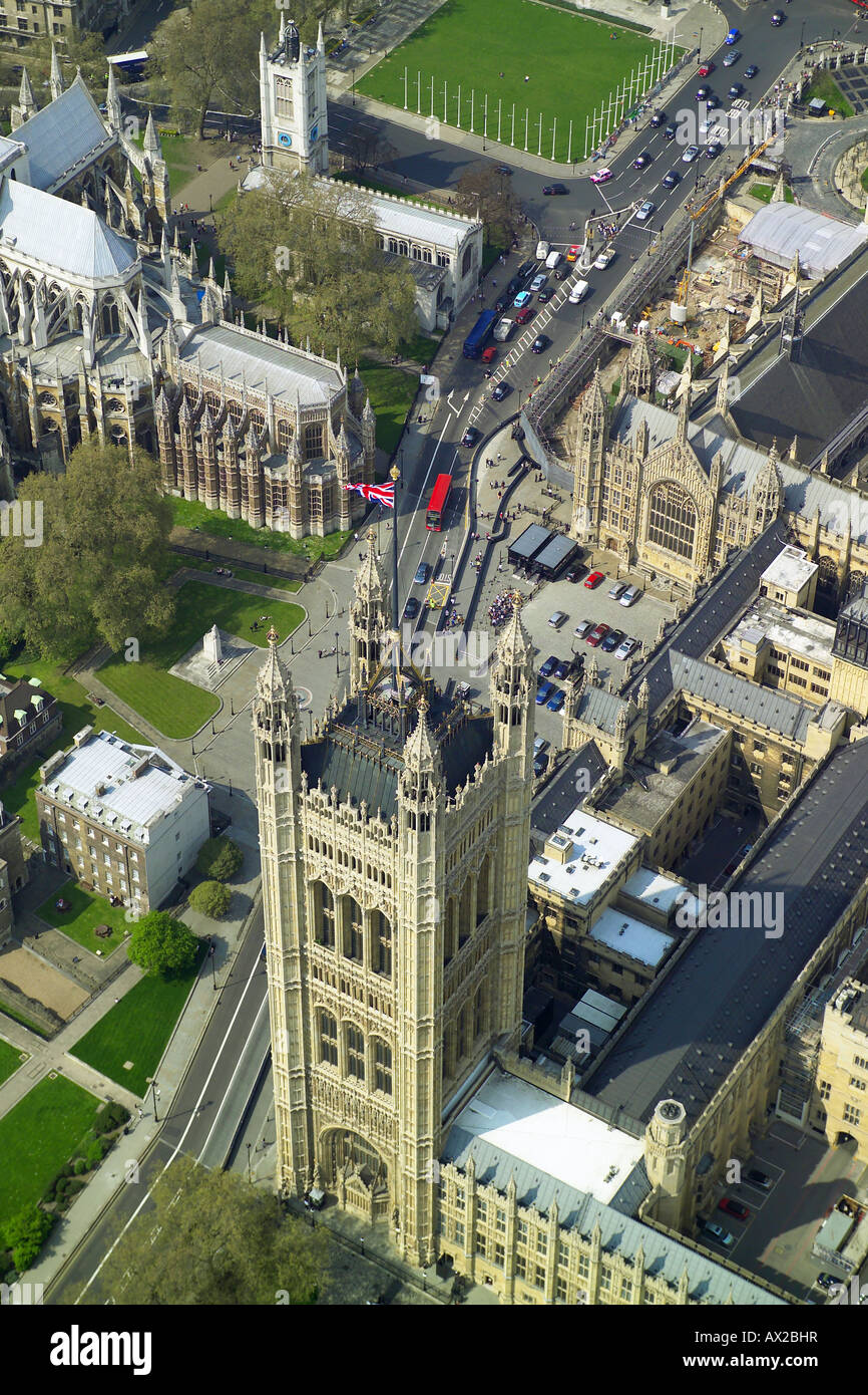 Aerial view of the Victoria Tower at the southern end of the Houses of Parliament in London, also showing the Union Stock Photo