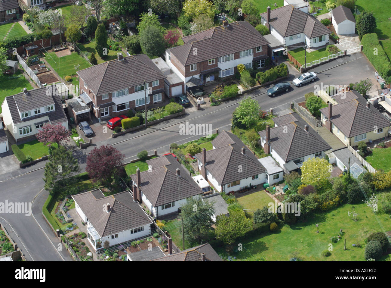 aerial view of british town suburbia showing housing gardens and road stock photo 1715793 alamy. Black Bedroom Furniture Sets. Home Design Ideas