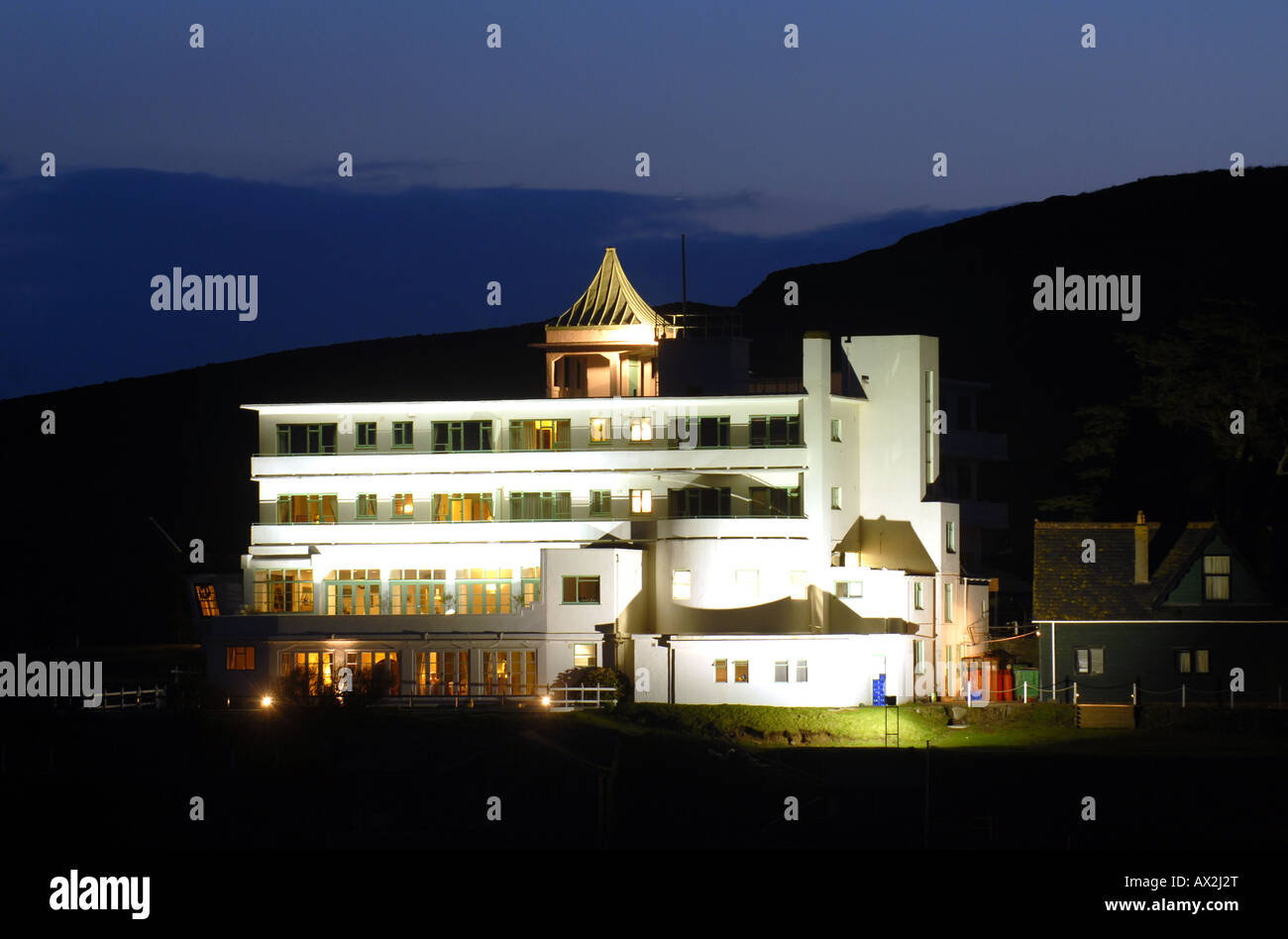 THE BURGH ISLAND HOTEL PICTURED AT NIGHT IN BIGBURY ON SEA,DEVON,ENGLAND. UK - Stock Image