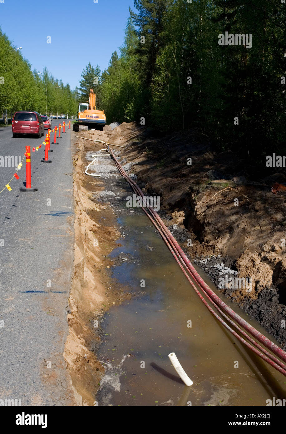 Roadworks at summertime , Finland Stock Photo