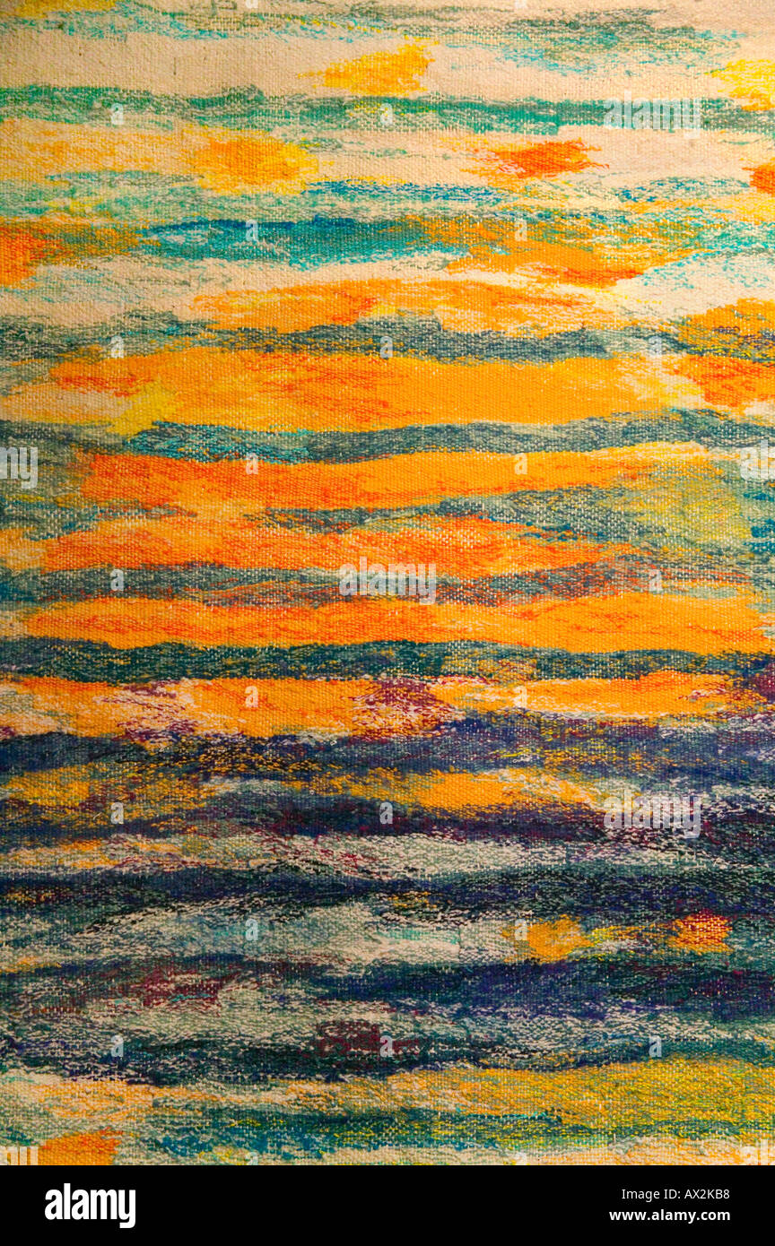 Colorful woven tapestry Tallinn Estonia - Stock Image