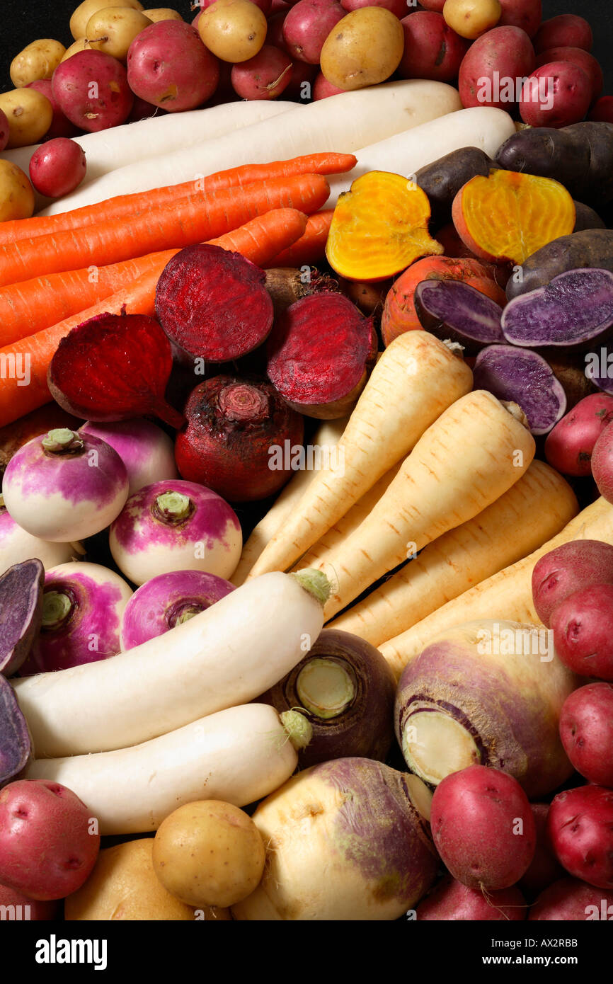 Background of root and tuber vegetables Stock Photo ...
