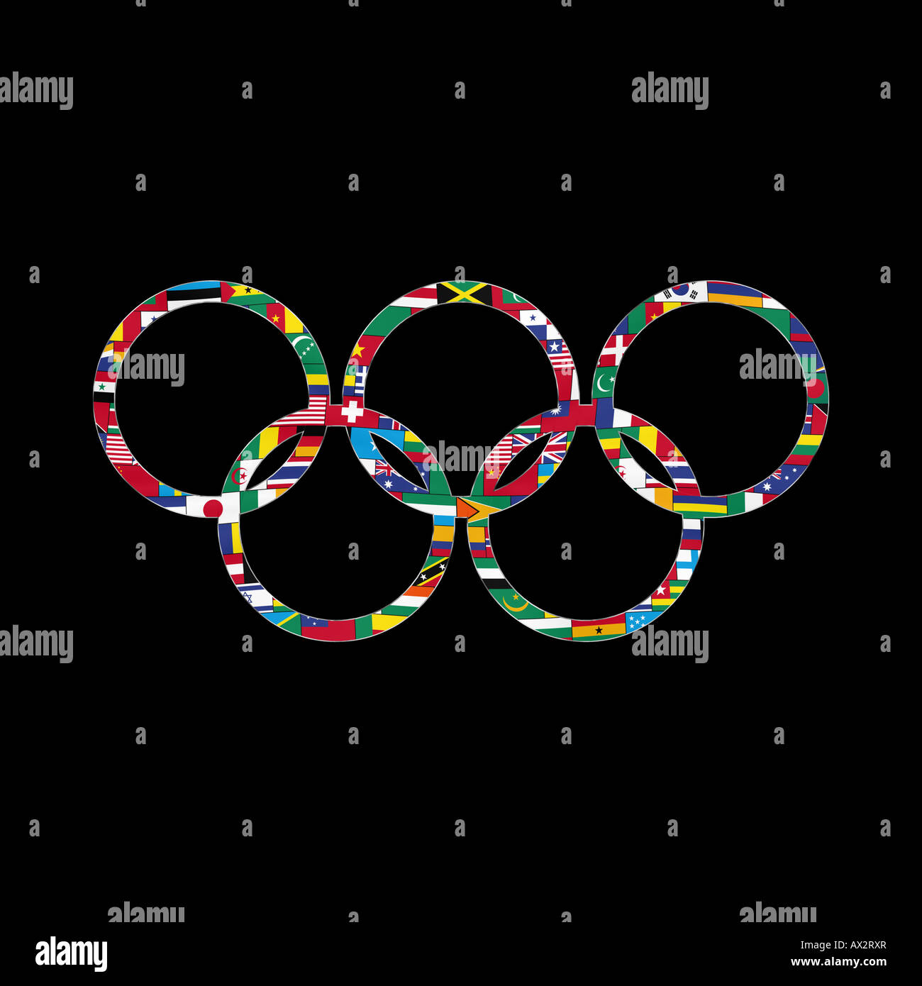 Flag pattern filled olympic rings against a black background - Stock Image