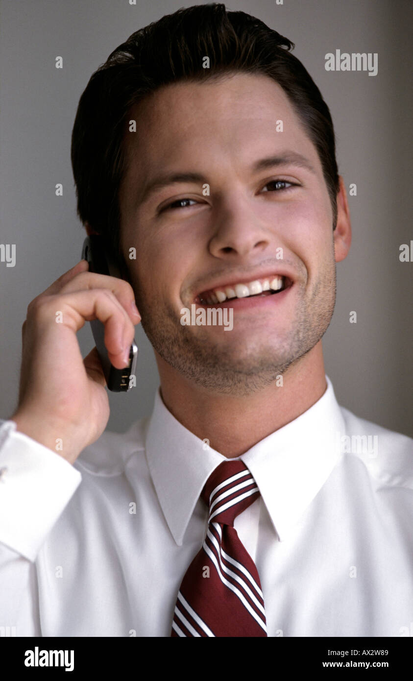 business man leisure glad annoyed attendant Businessman businessmen call calling commercial communicate - Stock Image