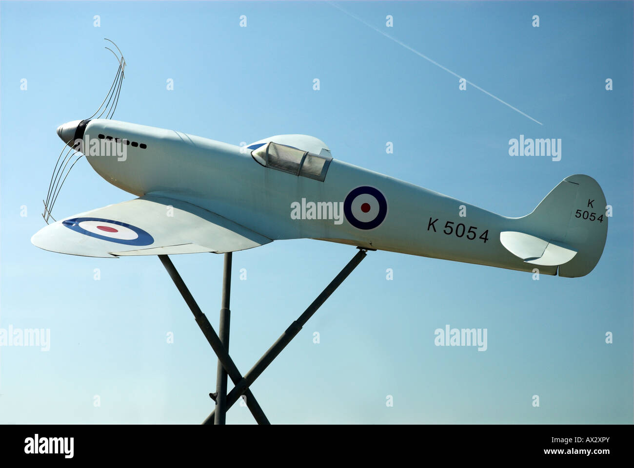 Model Of the Original Prototype Spitfire Outside Southampton Eastliegh Airport where the first ever Spitfore flight - Stock Image