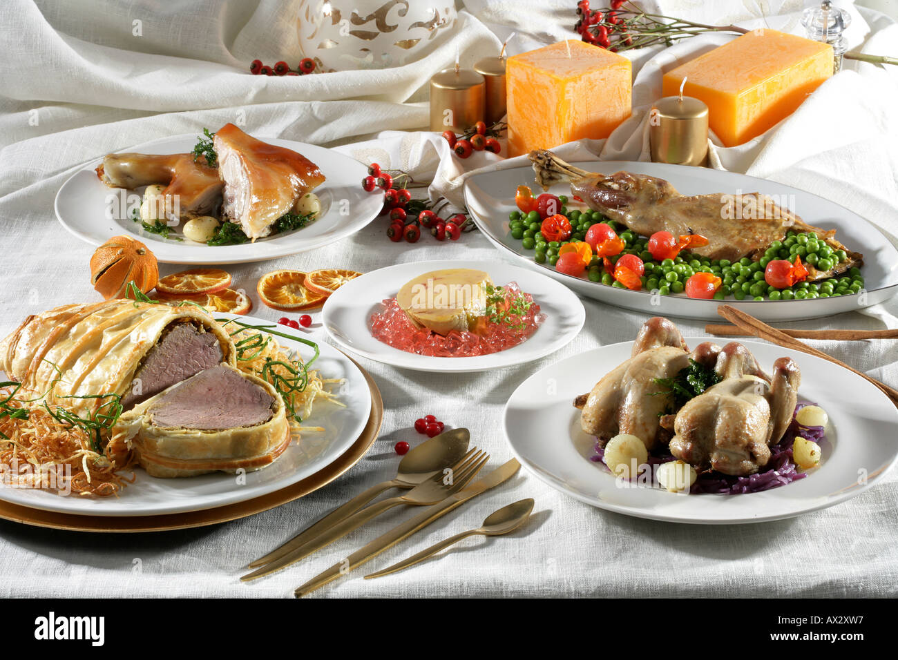 Christmas Meat Dishes.Christmas Meat Dishes Still Life Stock Photo 9549334 Alamy