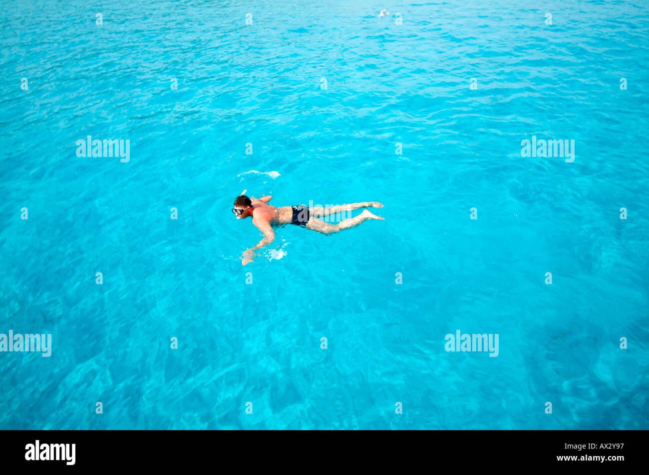 man snorkeling in mediterran Sea - Stock Image