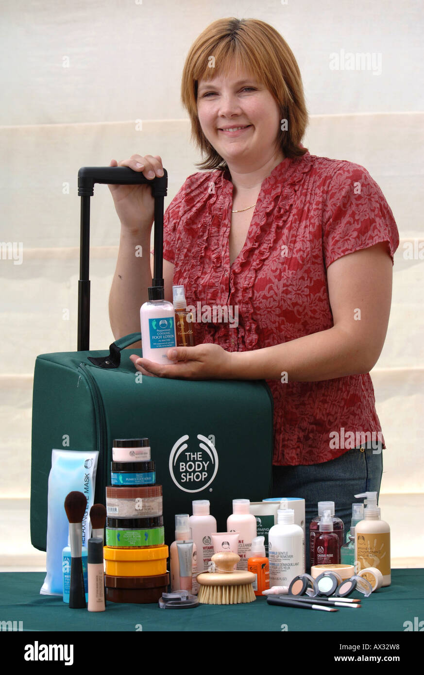 A BODY SHOP AT HOME SALESWOMAN WITH THE BEAUTY PRODUCTS TO