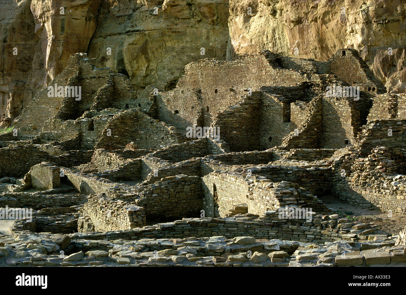 Anasazi Indian Ruins Pueblo Bonito Chaco Canyon National Historical Park New Mexico - Stock Image