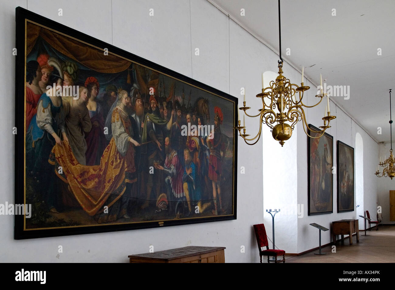 Kronborg - the Quens Gallery. Elsingore or Helsingør. Denmark - Stock Image