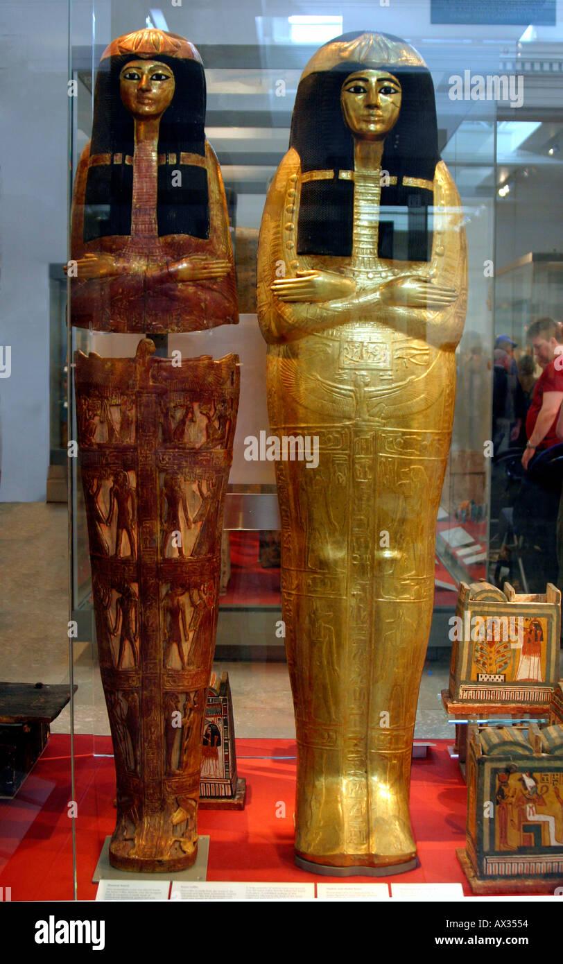 Upright Mummy Cases - Stock Image