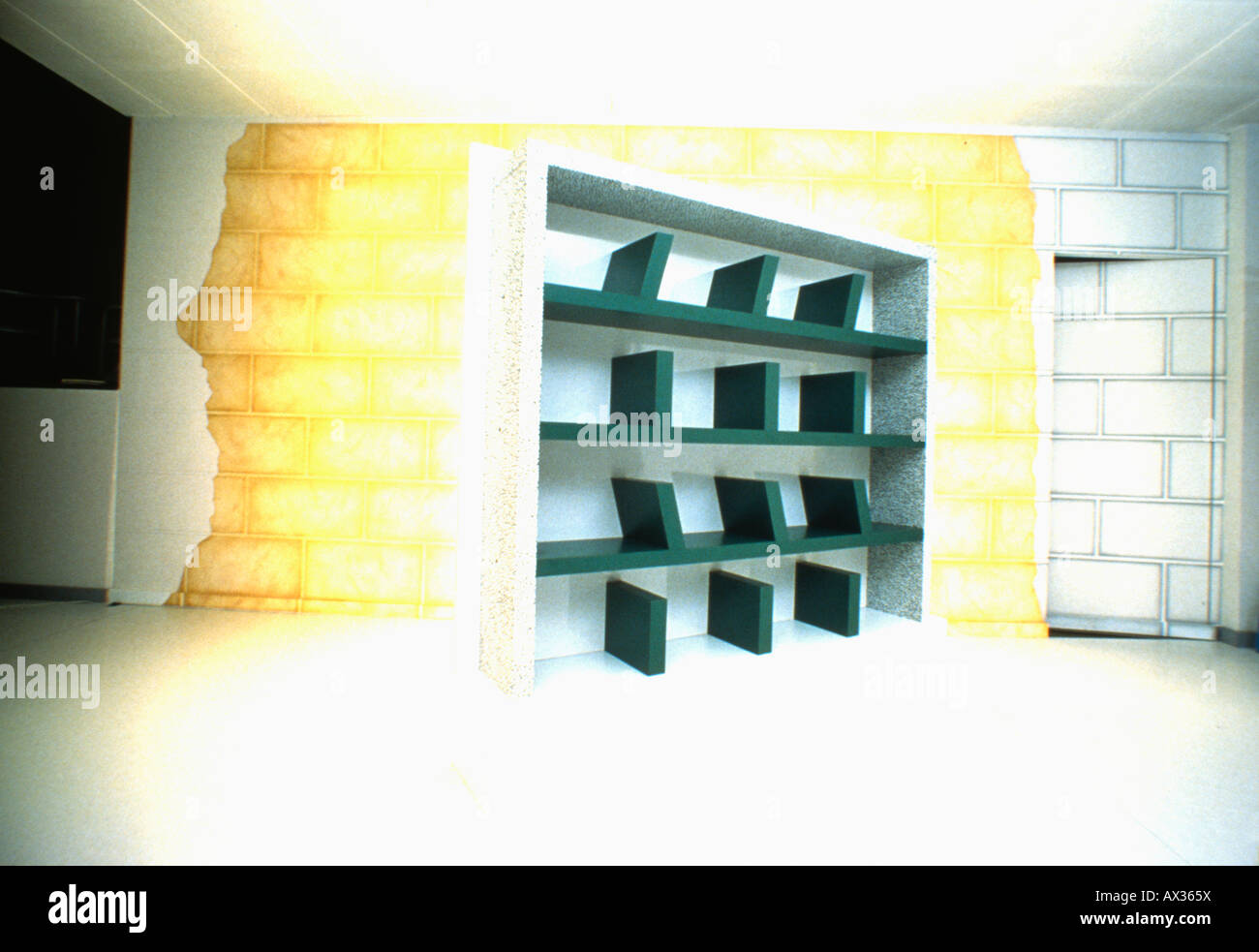 Black recessed shelves designed by Memphis - Stock Image