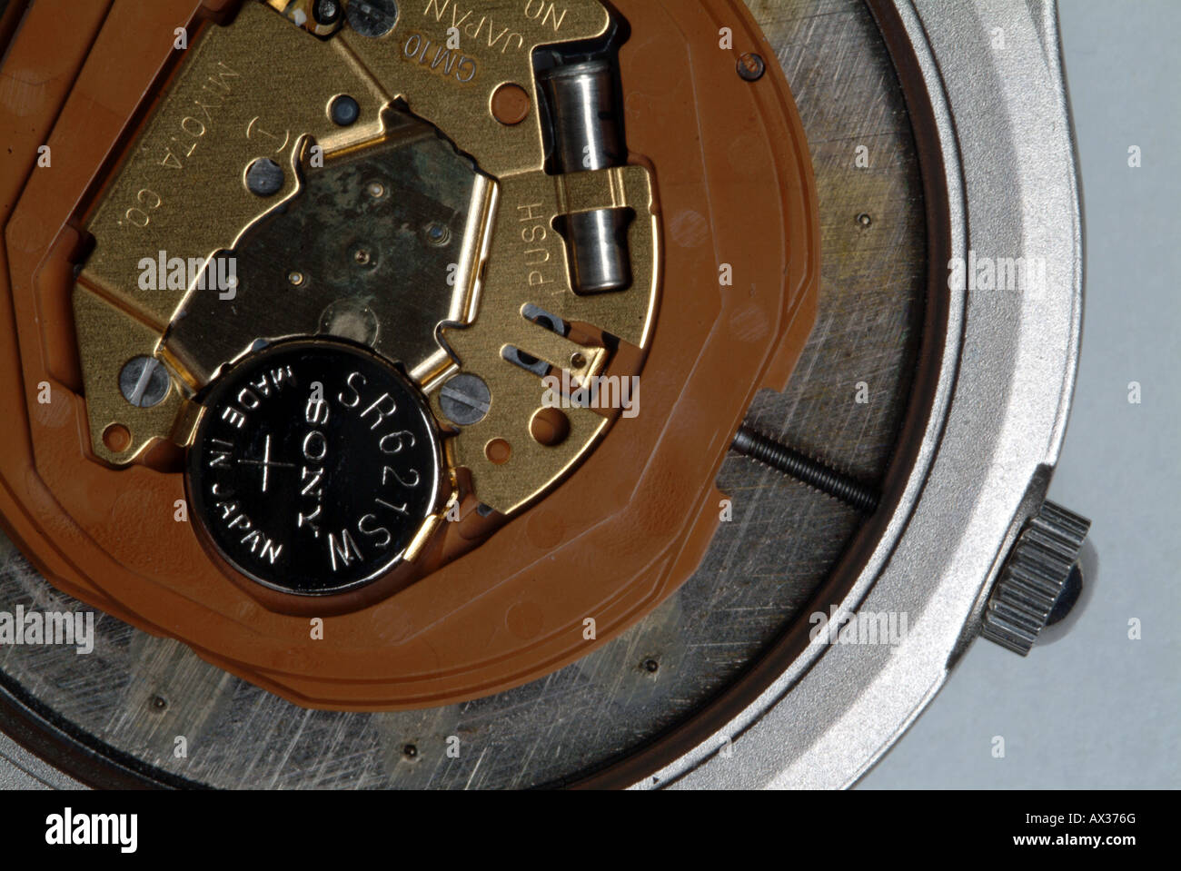 Lithium cell in a digital wrist watch - Stock Image