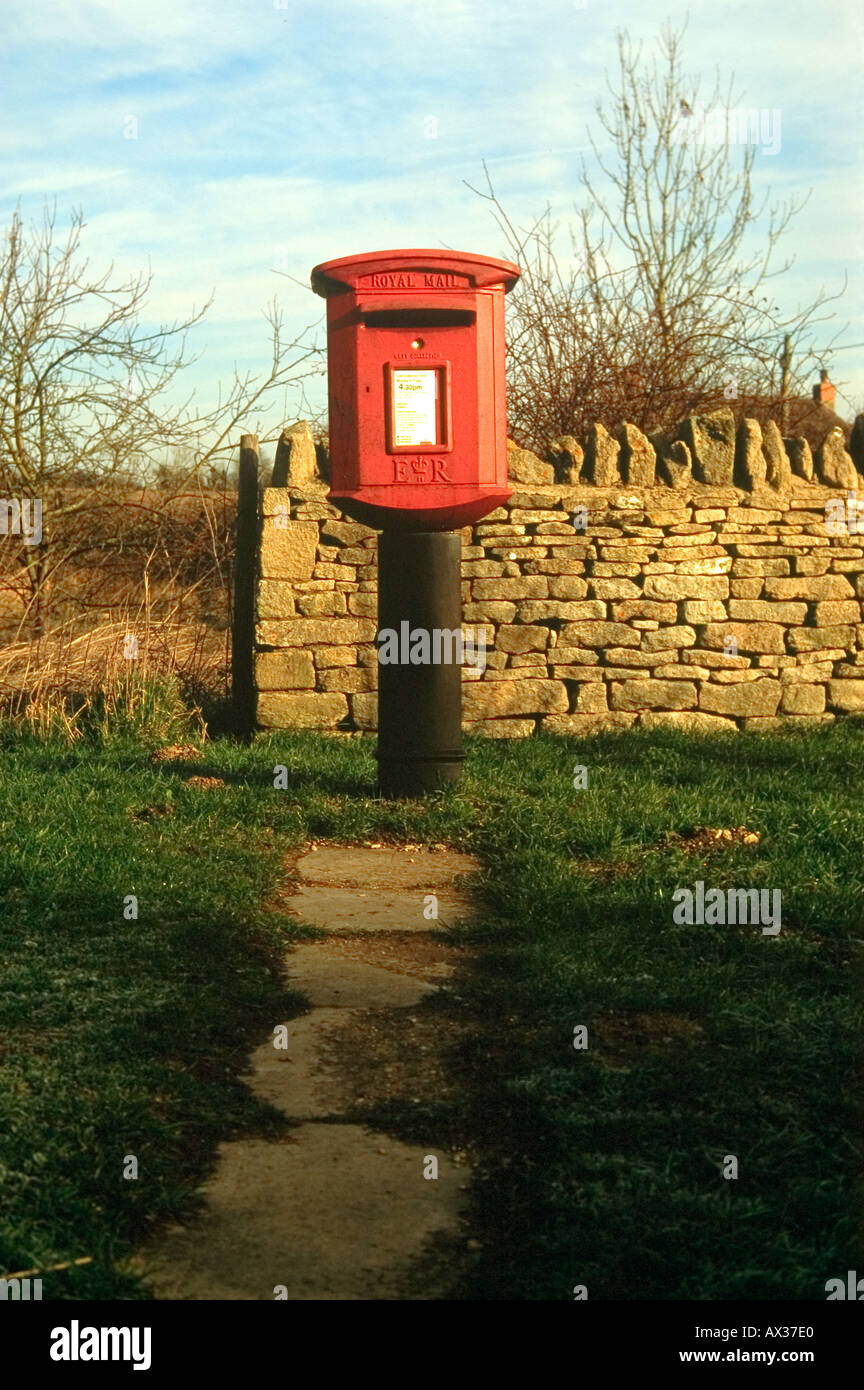 Red Post Box Stock Photo