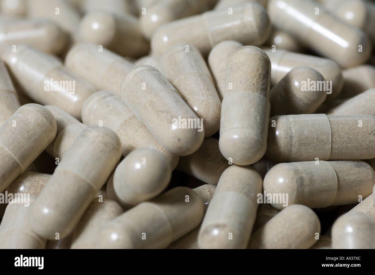 close up of white pills Stock Photo