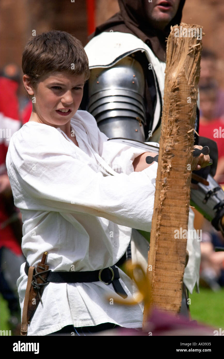 Plantagenets Medieval Society Kenilworth castle England Young squire in trianing  - Stock Image
