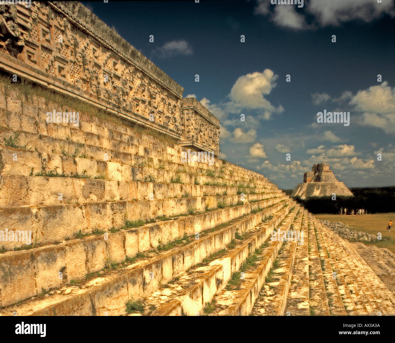 Uxmal Maya Ruins Yucatan Mexico Pyramide Palace of the Governor - Stock Image