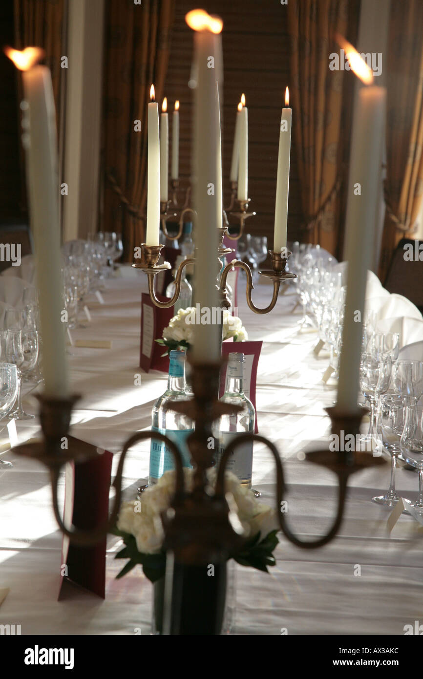 Formal Dinner Table Setting With Candles Stock Photo Alamy - Restaurant candle holders for table