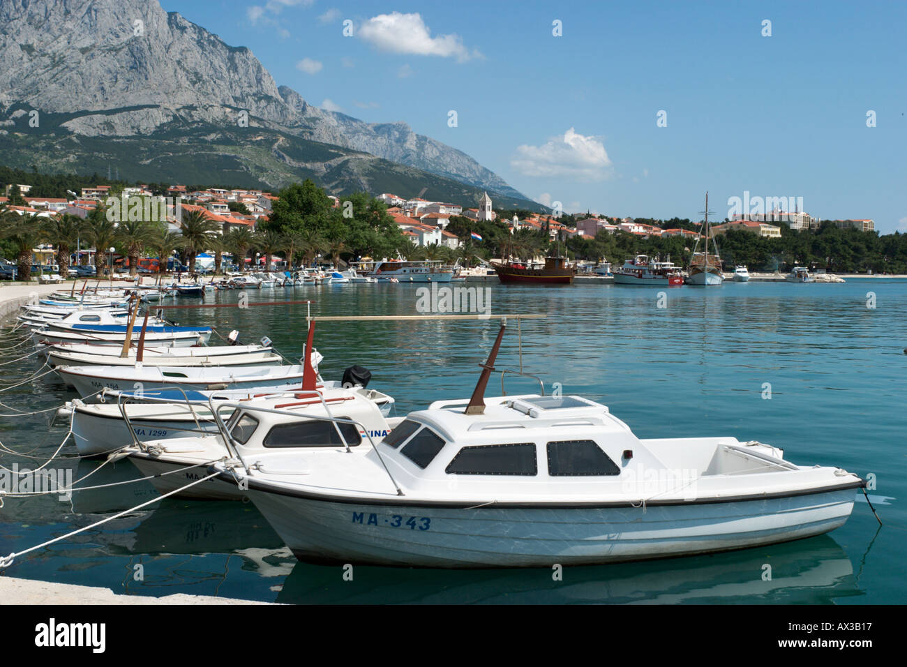 Harbour in Baska Voda, Makarska Riviera, Dalmatian Coast, Croatia - Stock Image