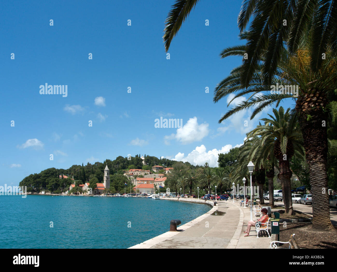 Seafront in Cavtat, Dubrovnik Riviera, Dalmatian Coast, Croatia - Stock Image