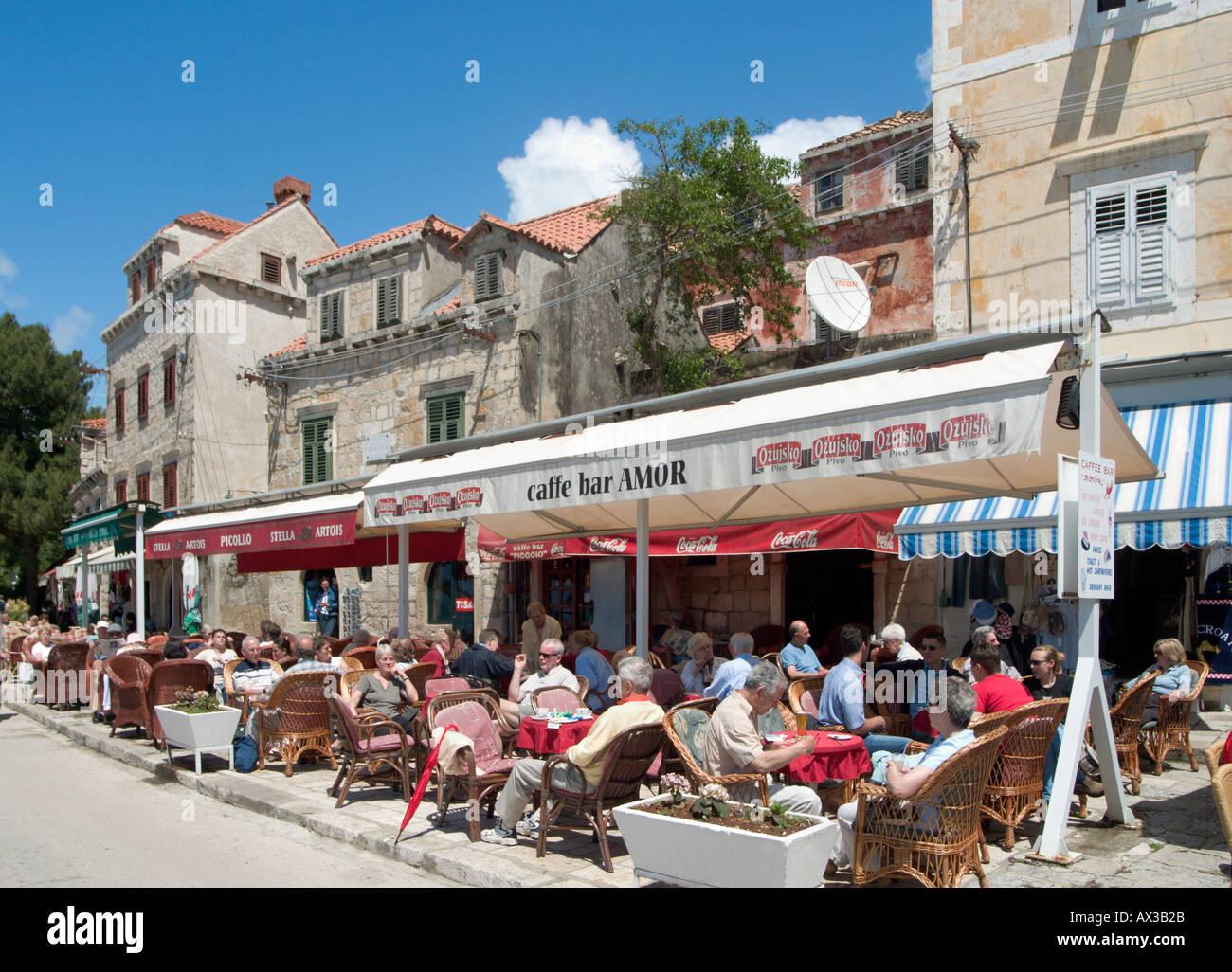 Seafront cafe  in Cavtat, Dubrovnik Riviera, Dalmatian Coast, Croatia - Stock Image