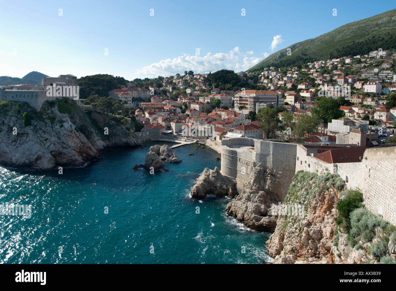 View from the City Walls, Dubrovnik, Dalmatian Coast, Croatia Stock Photo