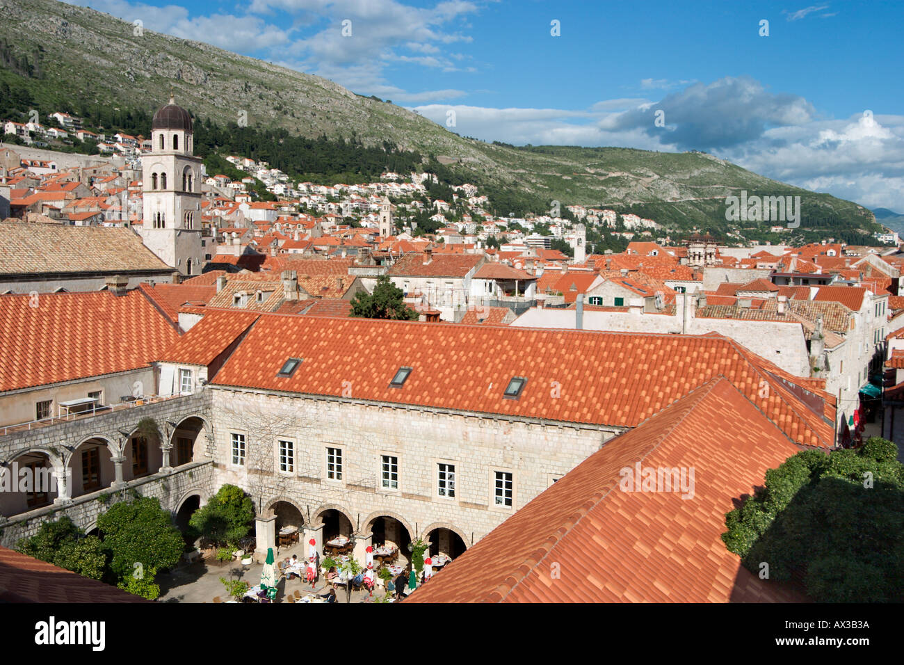 View of the old town from the City Walls, Dubrovnik, Dalmatian Coast, Croatia Stock Photo