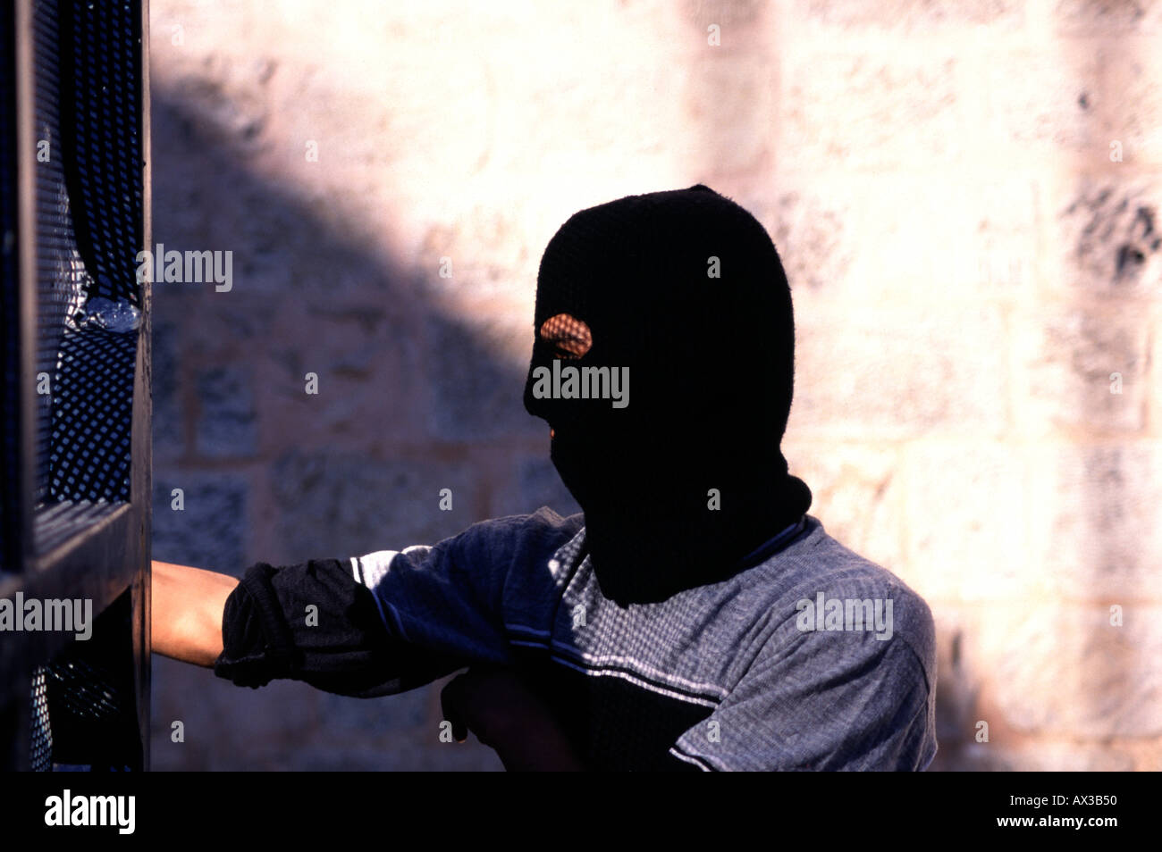 Palestinian during the Intifada riots in East Jerusalem Israel - Stock Image