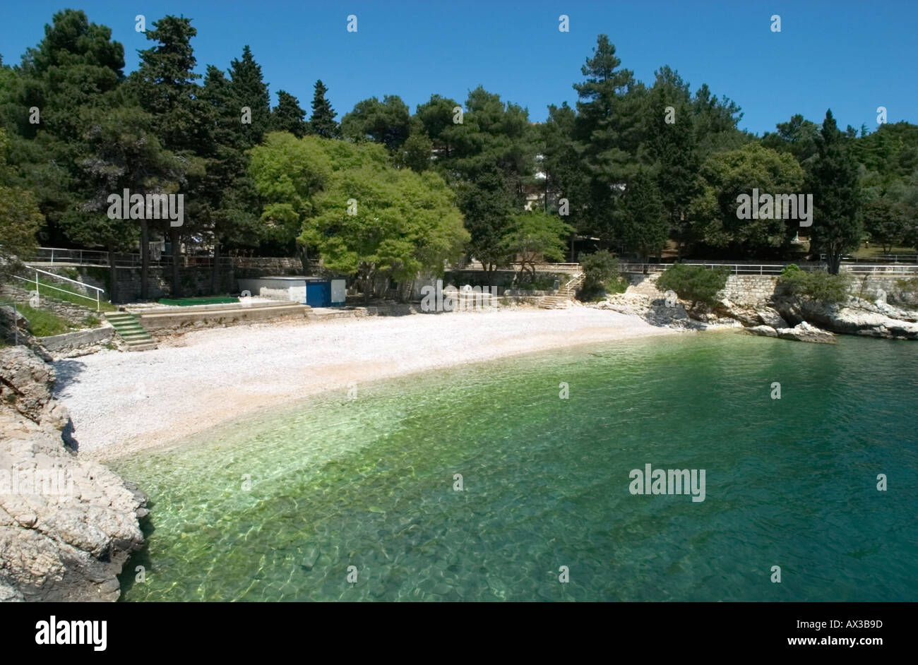 Beach in the Hotel District, Rabac, Istria, Croatia - Stock Image