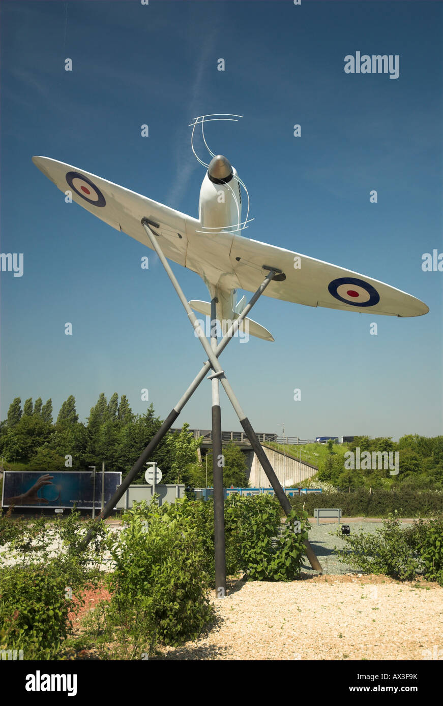 Model Of the Original Prototype Spitfire Outside Southampton Eastliegh Airport - Stock Image
