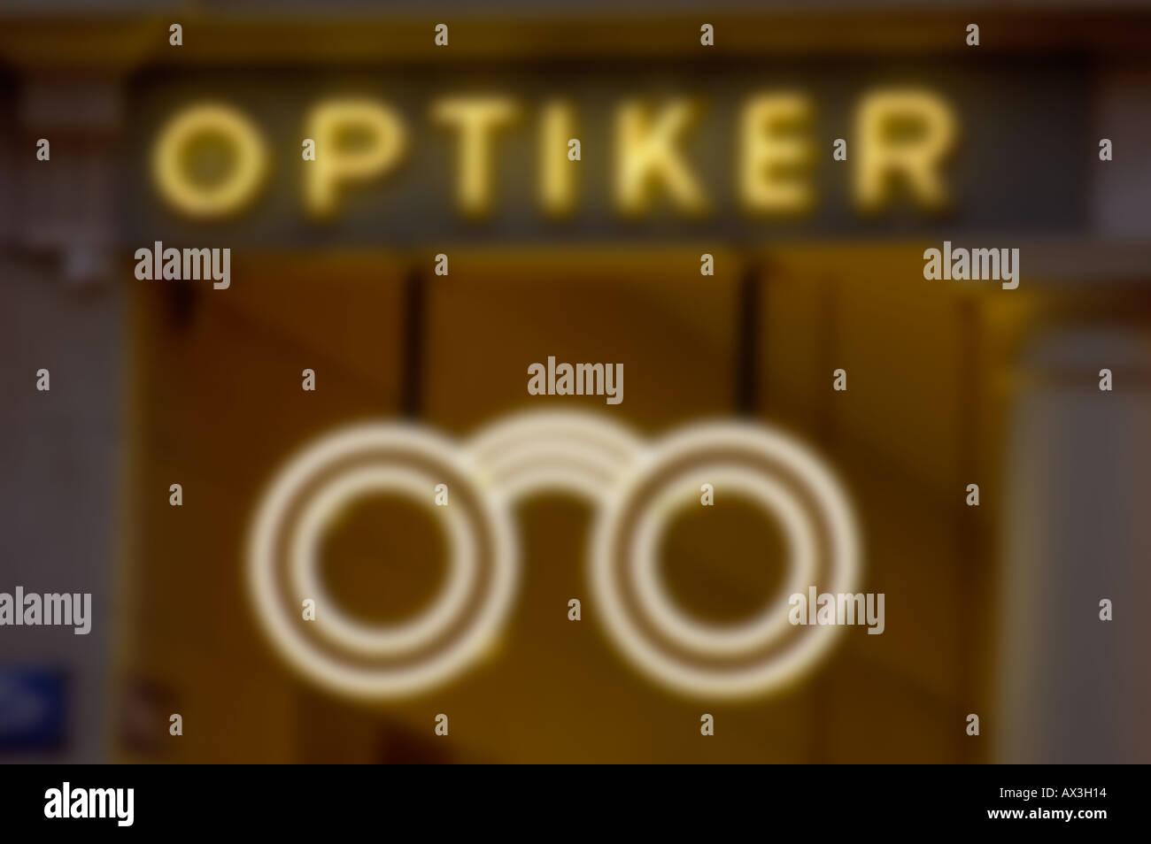 """optiker"" (optician) neon letters. (c) by uli nusko, ch-3012 bern Stock Photo"