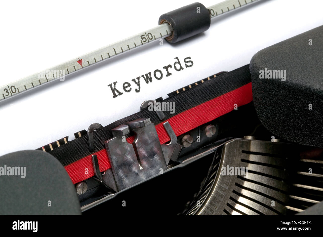 Keywords on an old typewriter in genuine typescript - Stock Image