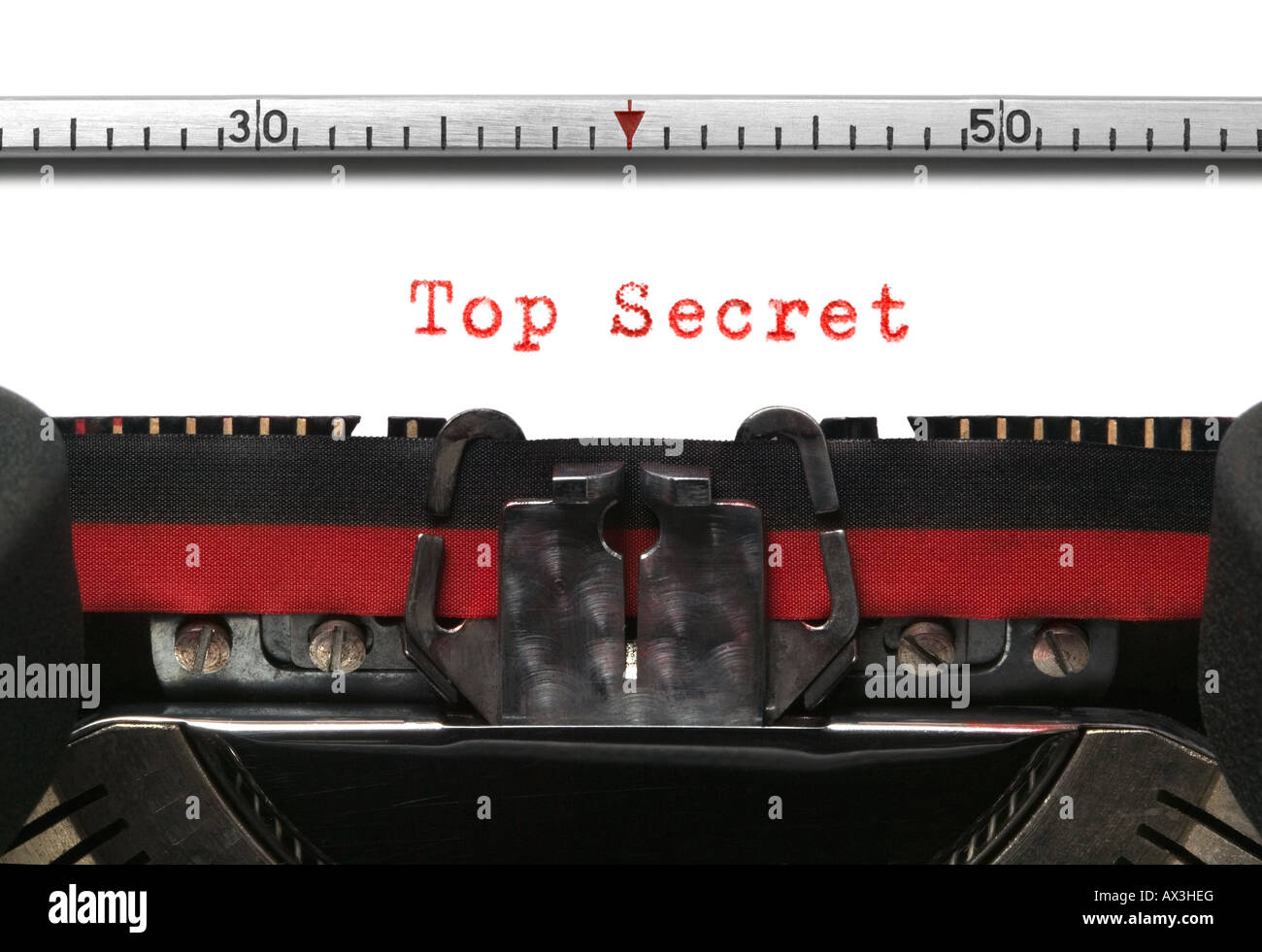 Top Secret on an old typewriter in genuine typescript - Stock Image
