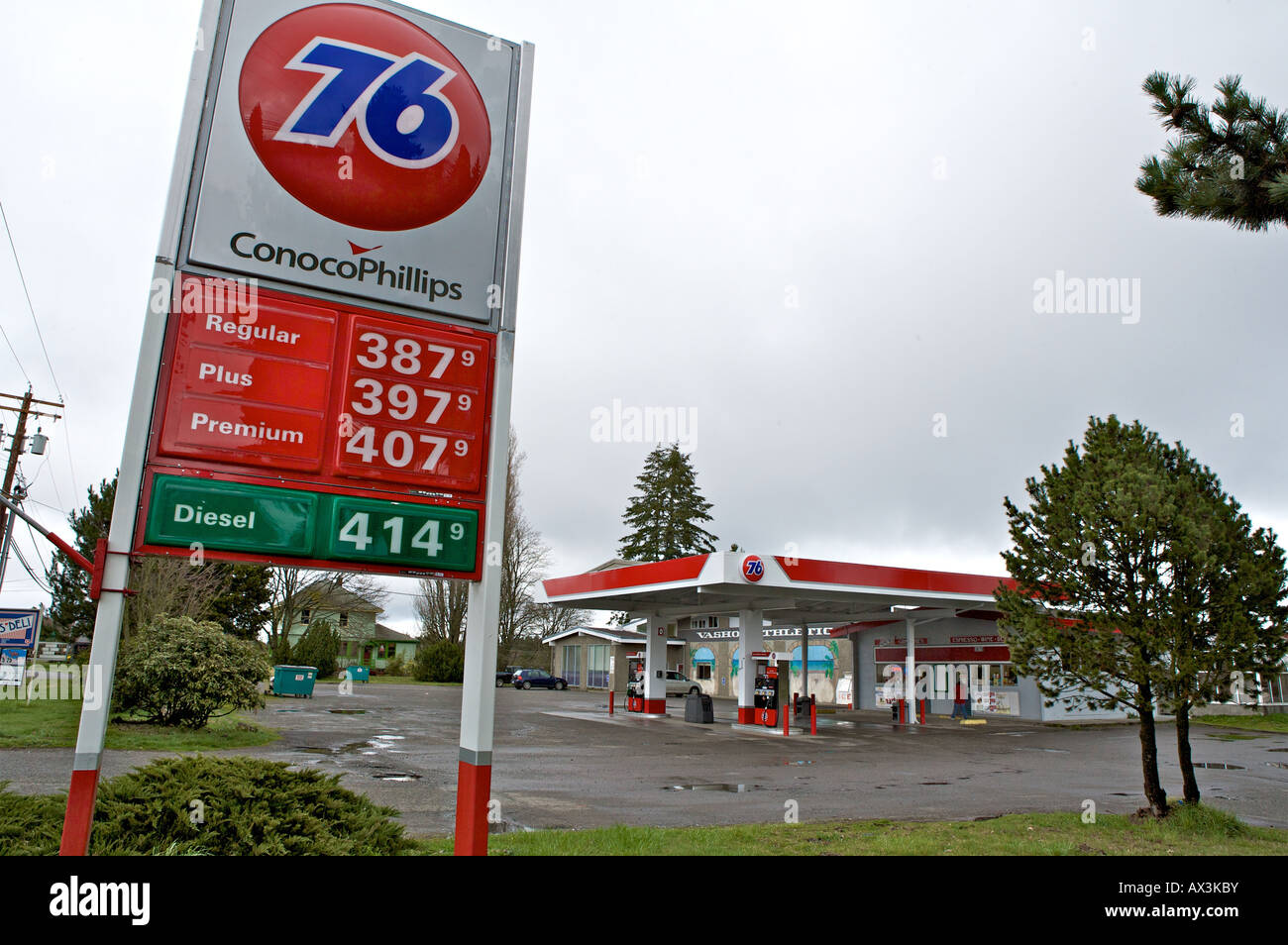 Gas station with prices over 4 per gallon Some of the highest gasoline prices in the United States are found on - Stock Image