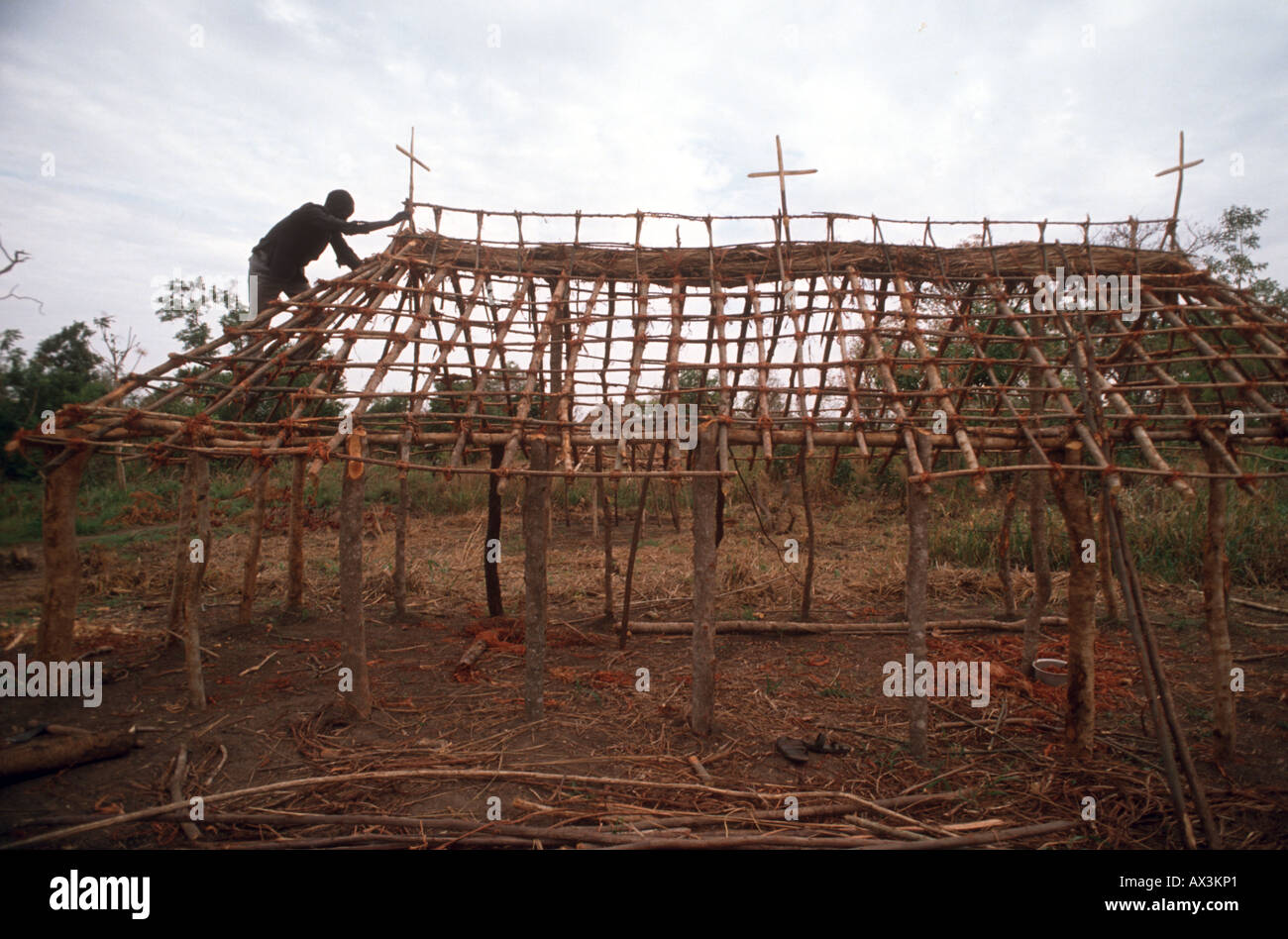 Sudanese Rebels build a Christian Church in Southern Kordofern, Southern Sudan. - Stock Image
