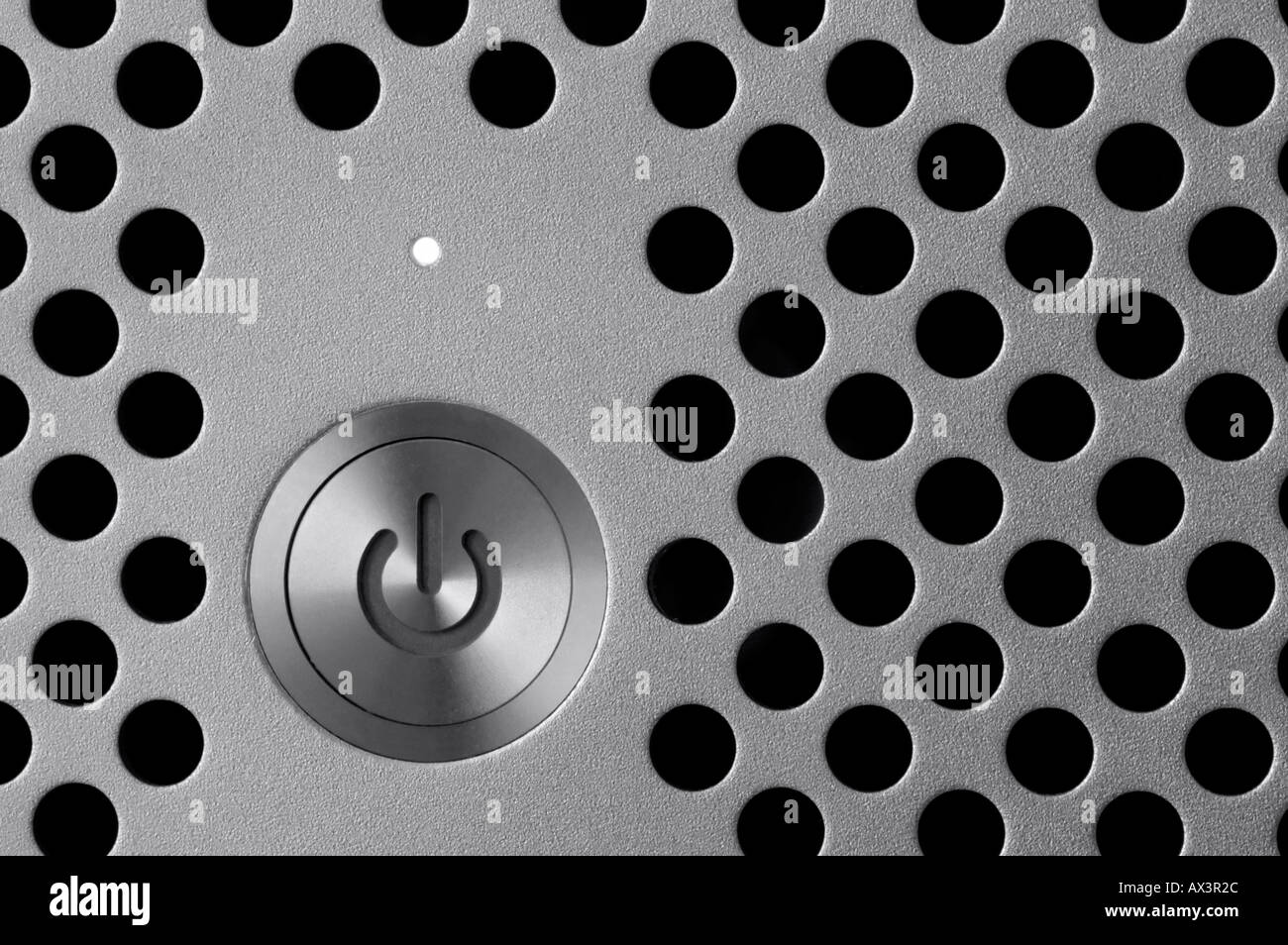 Close Up Of A Computer Power  Button / Switch. Black & White. - Stock Image