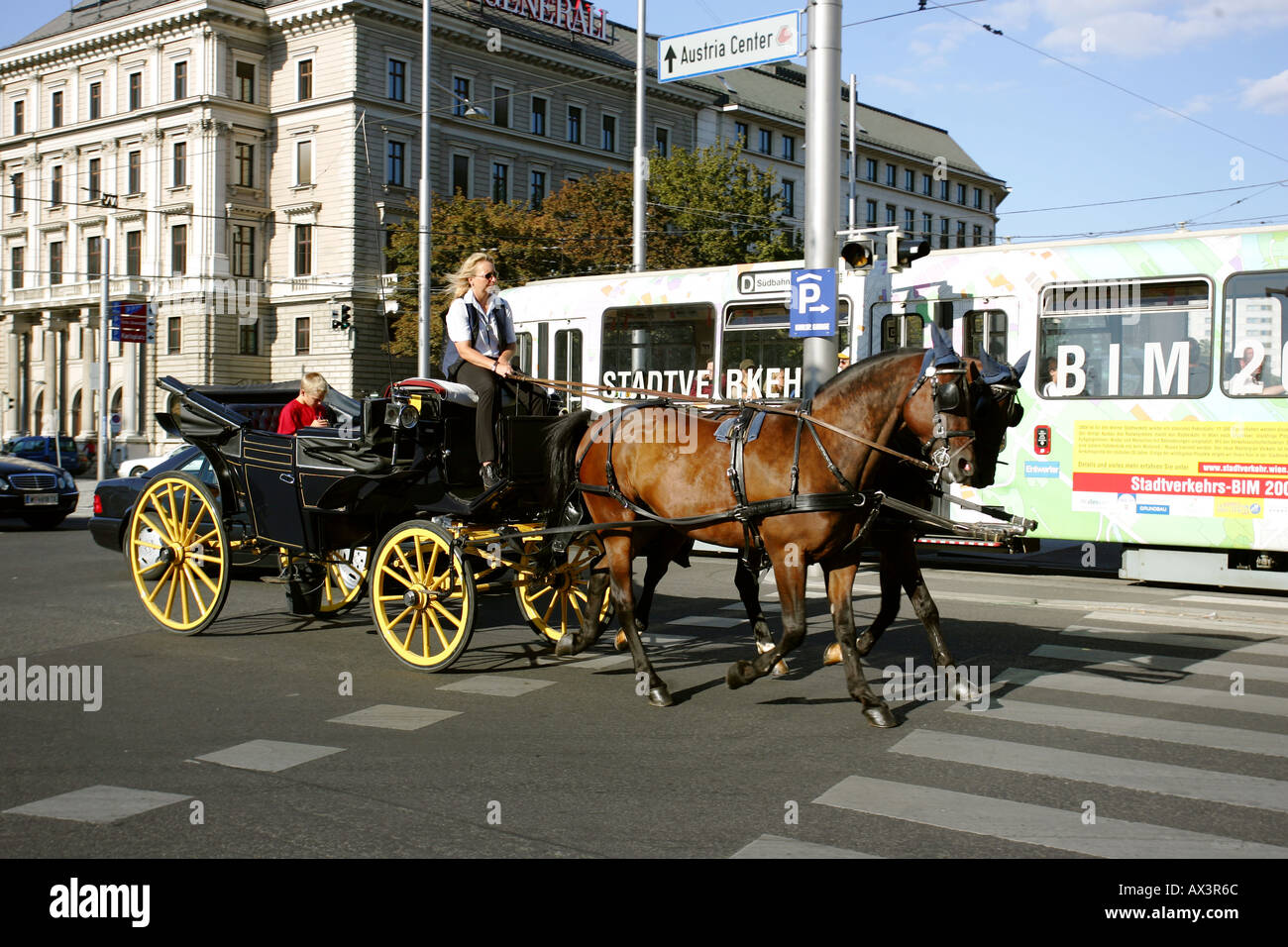 Horse and Cart in Vienna, Austria - Stock Image