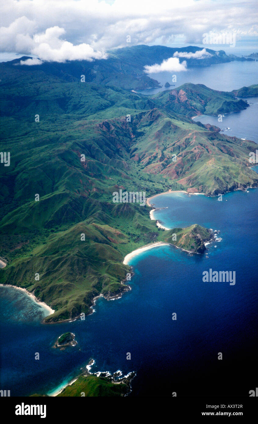 aerial view ,aerien,aerial,vue aerienne ,Komodo Island Komodo National Park Indonesia Indian Ocean Komodo National Stock Photo
