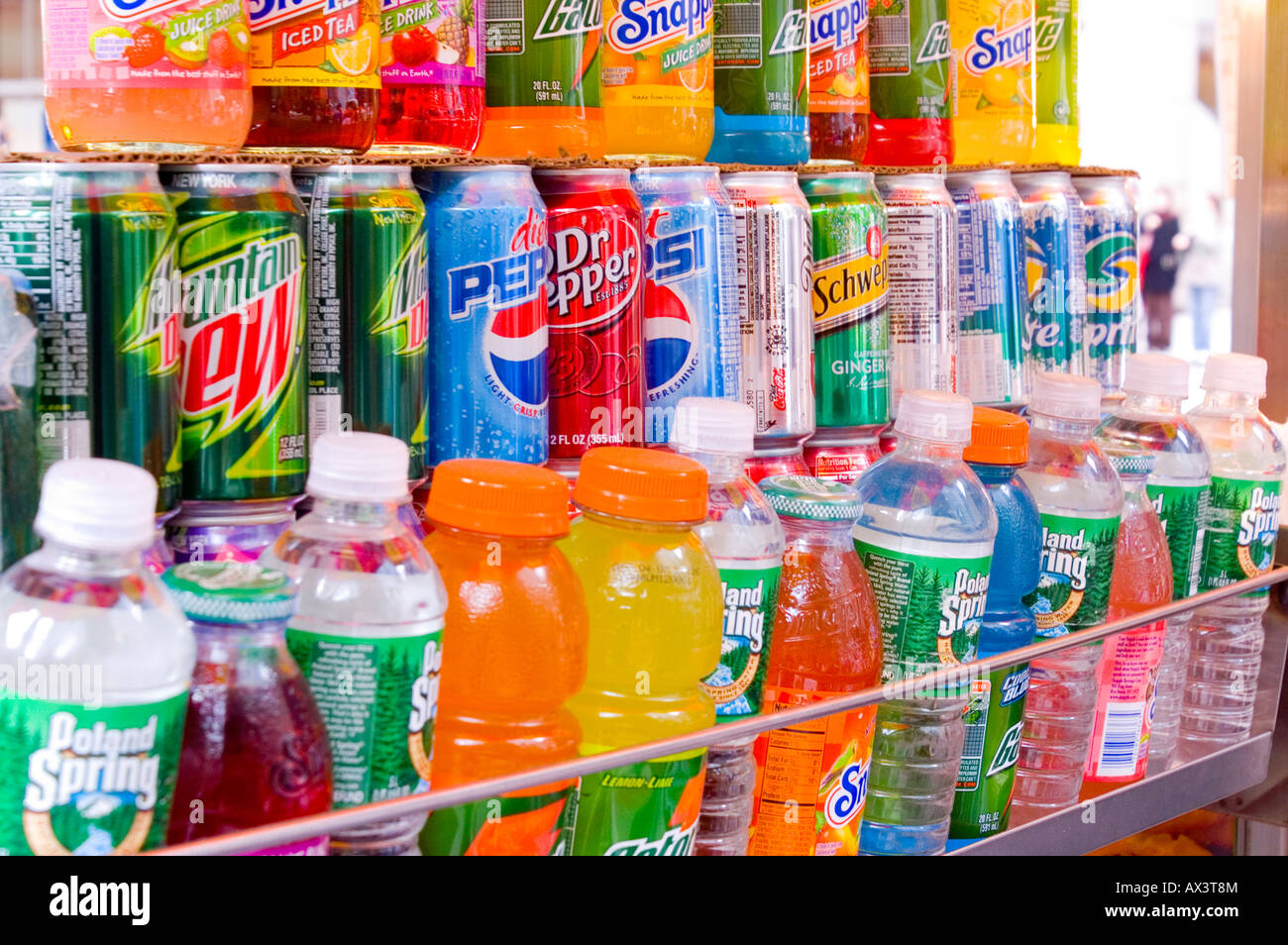 Soft Drink cans and bottles on Stall Stock Photo: 16719907 ...