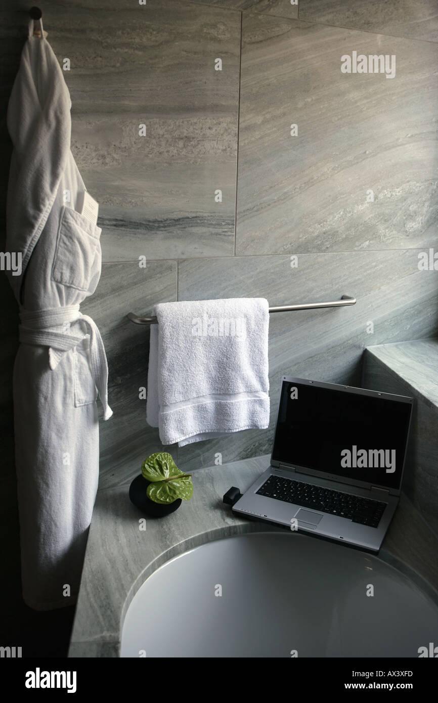 Laptop computer on bathtub ledge Stock Photo: 5459708 - Alamy
