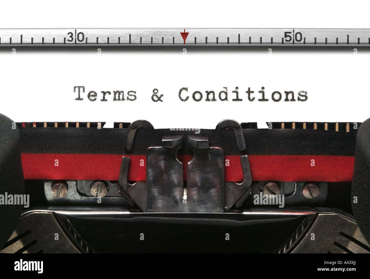 Terms Conditions on an old typewriter in genuine typescript - Stock Image