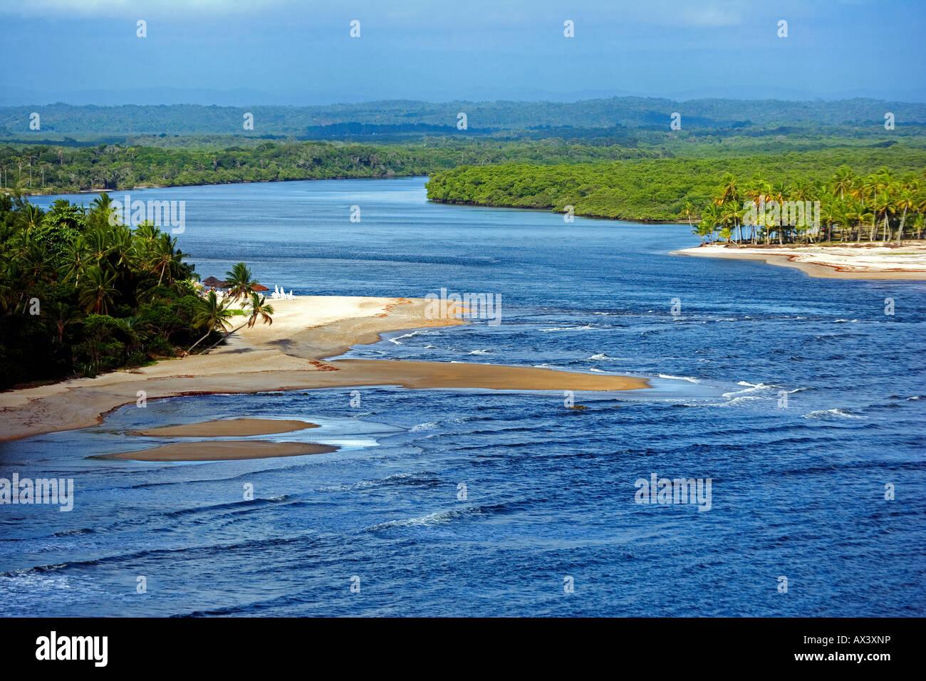 Brazil, Bahia, Boipeba Island. The channel dividing Tinhare and Boipeda on Brazil's Bahian Atlantic coastline from Stock Photo