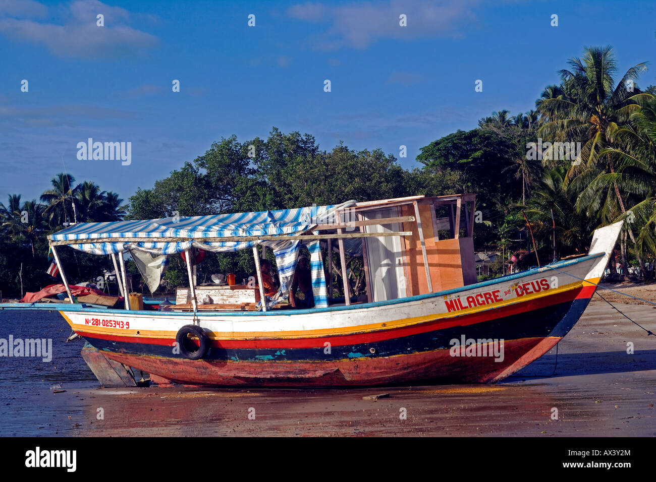 Brazil, Bahia, Boipeba Island. A ferry boat connecting the islands is moored on the beach in front of palm trees. Stock Photo