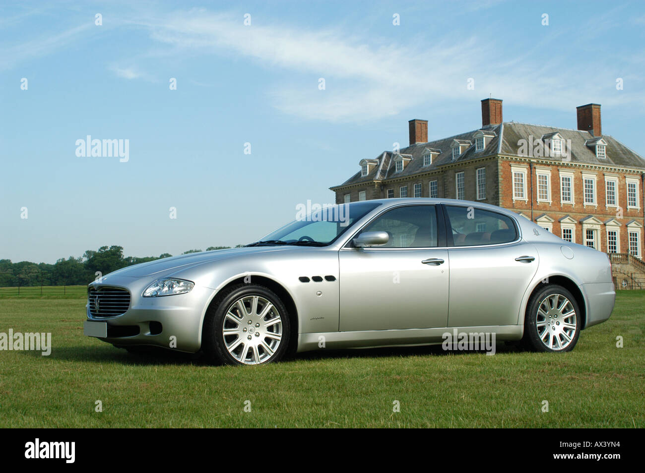 Silver Maserati Quattroporte 2006 Luxury Saloon Car.   Stock Image