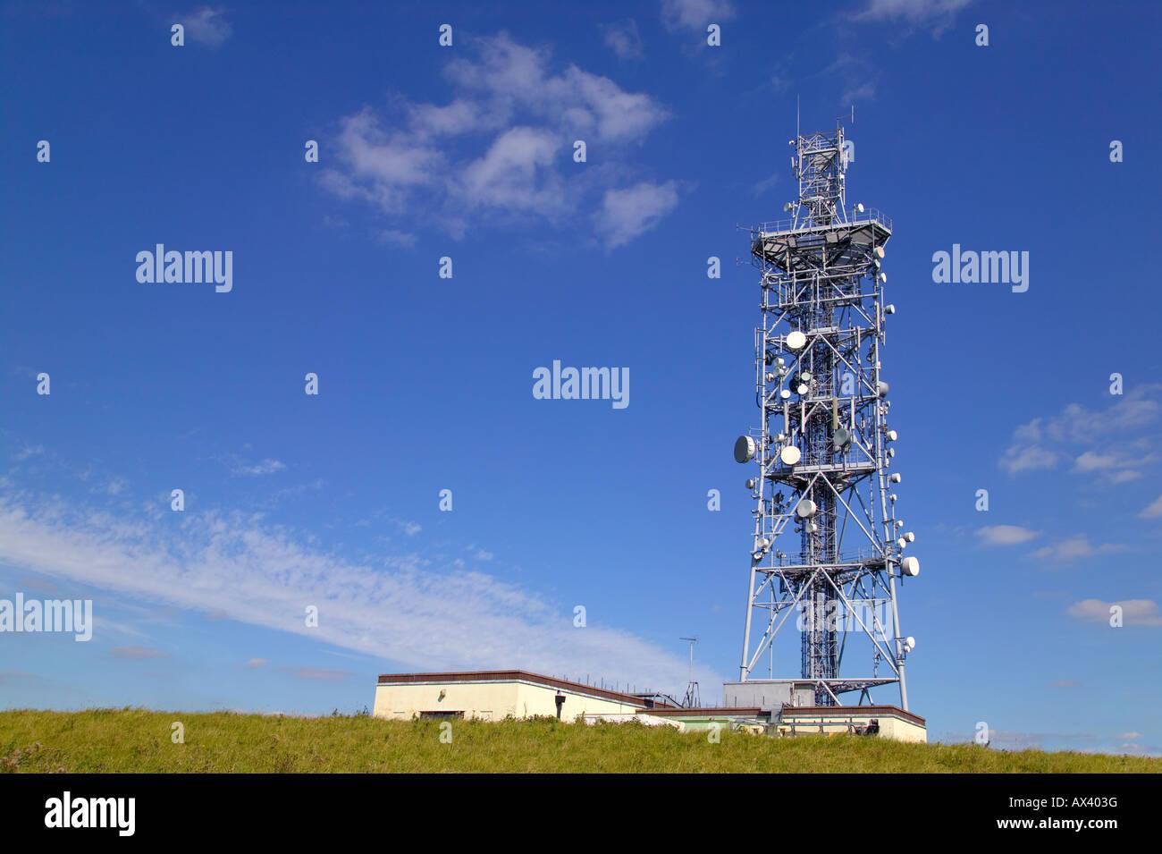 Telecommunications mast on Butser Hill South Downs Hampshire Stock Photo